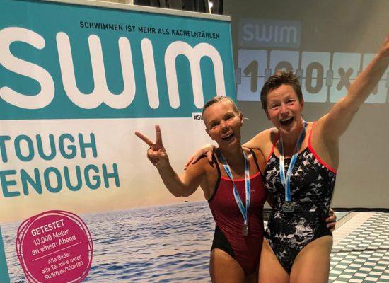 Heide Schriever und Susanne Paetz bei dem 100x100 von swim.de